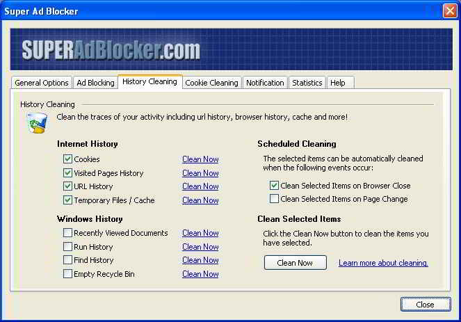 Super Ad Blocker - Cleaning Option